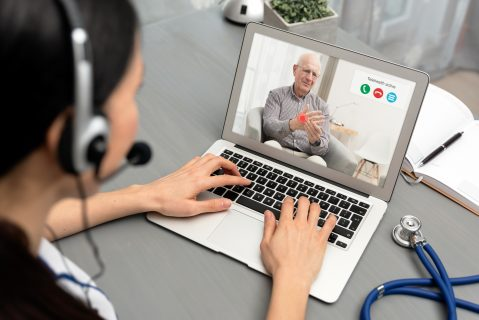 Photo of a telehealth interaction